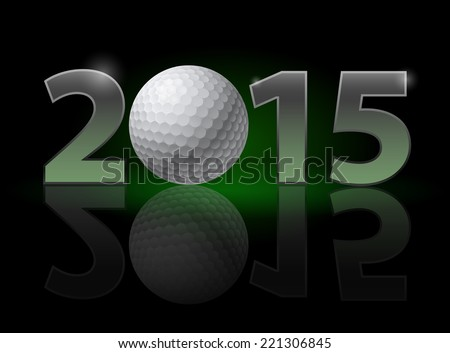 New Year 2015: metal numerals with golf ball instead of zero having weak reflection. Illustration on black background. - stock vector