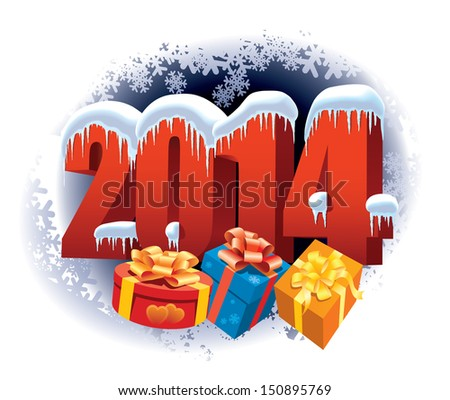 New Year 2014 number on winter background with snowflakes and gifts