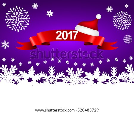 New Year 2017 on a purple background with snowflakes vector