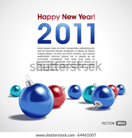 New Year or Christmas vector background with colorful balls over white, with copy space, eps10.