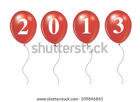 New year 2013 over ballon shape vector illustration