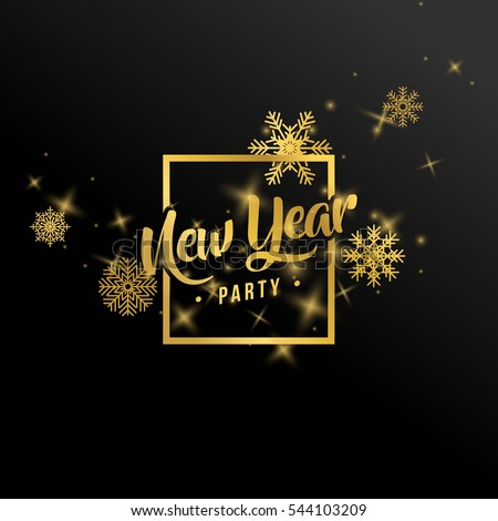 New Year's banner and golden snowflakes in a vector