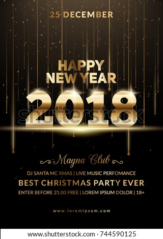 New Year 2018 party club poster. Modern design for a holiday party flyer. Eps10 vector template.