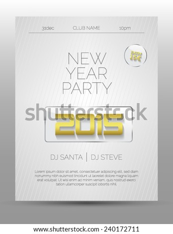 New Year Party Flyer Template Light Stock Vector (Royalty Free ...