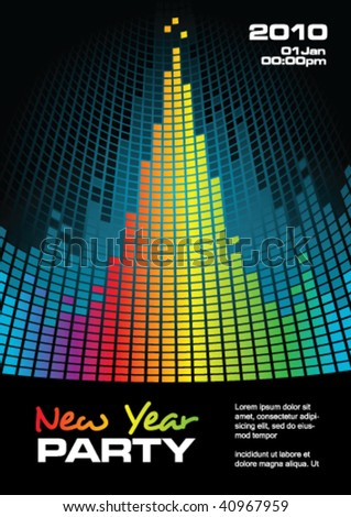 New Year party flyer with copy space, vector illustration - stock vector