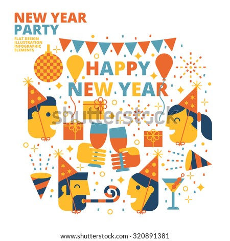 New Year Party, Happy New Year, Flat Design, Illustration