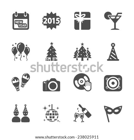 new year party icon set 2, vector eps10. - stock vector