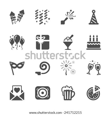 new year party icon set 6, vector eps10.