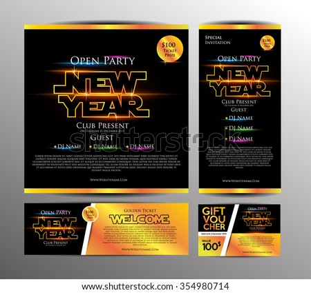 New Year Party Invitation Card Golden Stock Photo Photo Vector