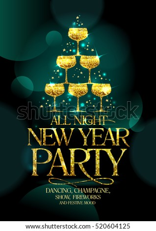 New Year party poster concept with golden stack of champagne glasses, sparkles and stars against dark emerald green background