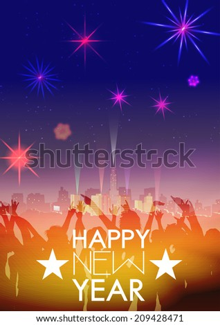 New Year Party Poster Template with City Skyline ,Crowd and Fireworks - Vector Illustration - stock vector