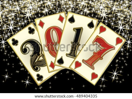 New 2017 year poker cards, vector illustration