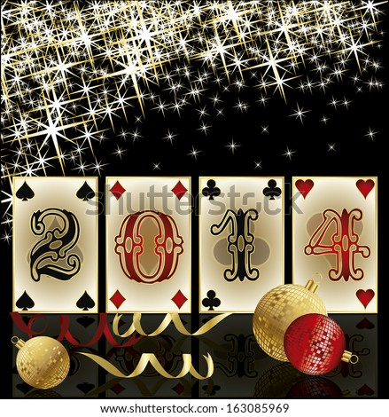 New 2014 Year poker style, casino greeting card, vector illustration - stock vector