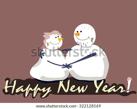 New year postcard, family snowman. - stock vector