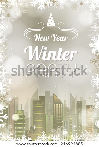 New Year poster. Abstract holiday Christmas golden light background - stock vector