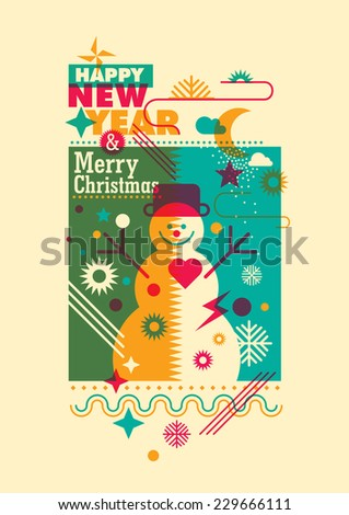 New Year poster with snowman. Vector illustration. - stock vector