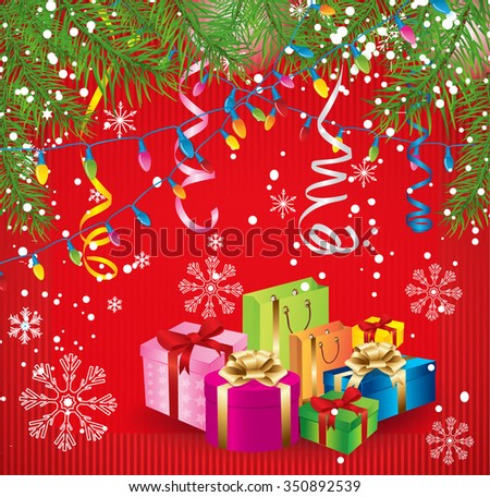 New Year red background with tinsel and gifts