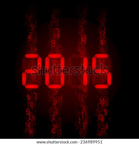 New Year 2015: red digital numerals on black. - stock vector