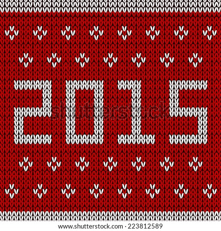 New year red knitted background. Vector illustration. - stock vector