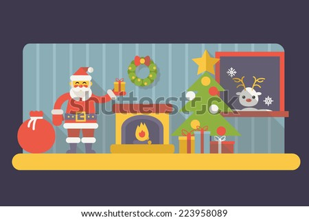 New Year Room Santa Claus with Gift Box and Bag Christmas Accessories Icons Trendy Modern Flat Design Template Vector Illustration - stock vector