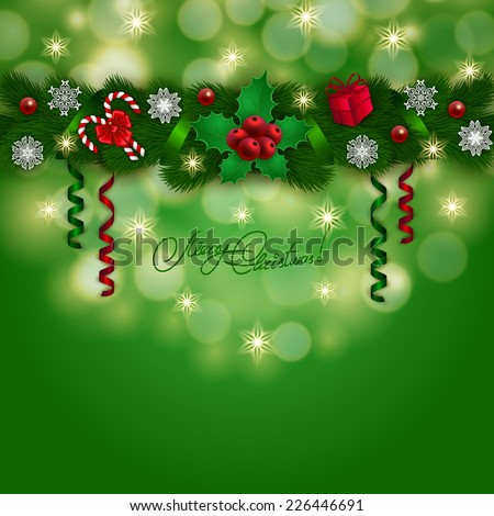 New Year's background - a garland of fir branches, bow, gift, lollipops, holly berries, snowflakes for greeting card, invitation. Christmas festive bokeh background. Vector illustration EPS10. - stock vector