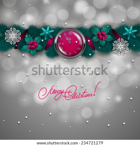 New Year's background - a garland of fir branches, clocks, baubles, holly berries, bells for greeting card, invitation. Christmas festive bokeh background. Vector illustration EPS10. - stock vector