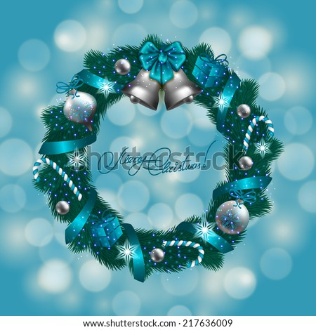 New Year's background - a wreath of fir branches, bow, balls, baubles, gifts, bells, lollipops for greeting card, invitation. Christmas festive bokeh background. Vector illustration EPS10. - stock vector