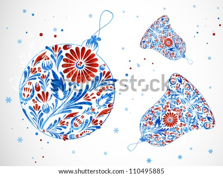 New Year's bells and toy . Festive abstract background. - stock vector