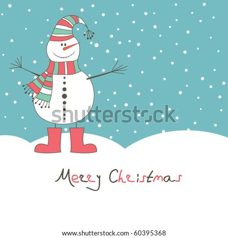 New year's card with angel snow man. Vector illustration - stock vector
