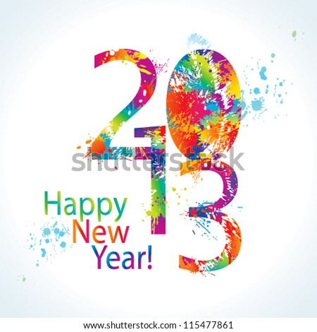 New Year's card 2013 with colorful drops and sprays on a white background. Vector illustration. - stock vector