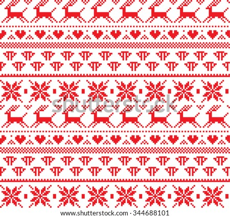 New Year's Christmas pattern pixel - stock vector