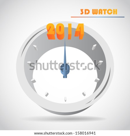 New Year's clock 3d vector - stock vector