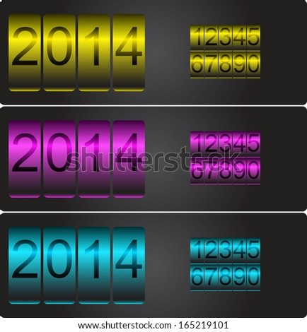 New Year's date. Vector counters with set of numbers yellow, magenta and cyan - stock vector