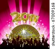 new year's eve party background with crowd and disco ball - stock vector