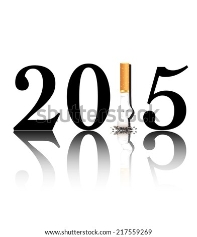 New Year's Eve, Smoking concept with the 1 in 2015 being replaced by a stubbed out cigarette. EPS10 vector format   - stock vector