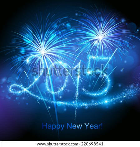 New Year's fireworks 2015 - stock vector