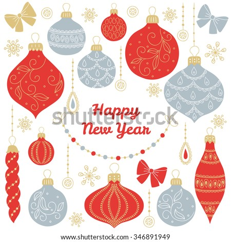 New Year's greeting card with balls, baubles, bows, garlands, snowflakes on white background. Perfect for winter invitations, Christmas greeting cards, decorations - stock vector