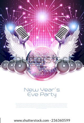 New Year�´s music poster with disco ball, speakers and fireworks - Vector - stock vector
