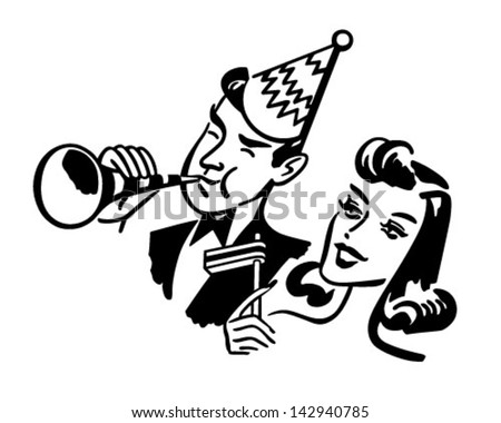 New Year's Party Couple - Retro Clip Art Illustration - stock vector