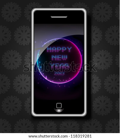 New Year's Phone - stock vector