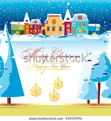 New-Year's winter background with Christmas tree. Greeting sweet postcard with houses and snow. Christmas background of winter dream. Vector illustration contains the image of winter landscape. - stock vector