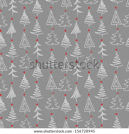 New year seamless background with tree - stock vector