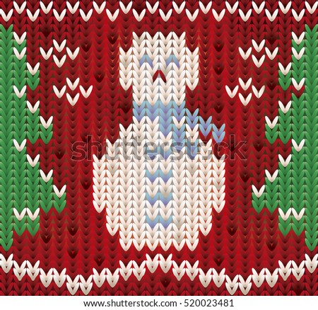 New year seamless card, knitted xmas snowman, vector illustration