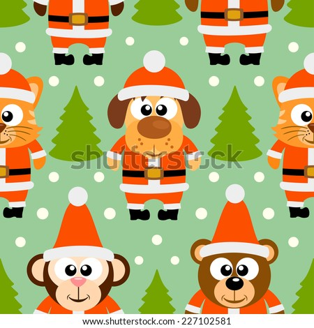 New Year seamless card with funny animal,vector - stock vector
