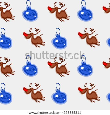 New Year seamless pattern with Christmas toys. Christmas pattern vector. Deer with red noses and stars - stock vector