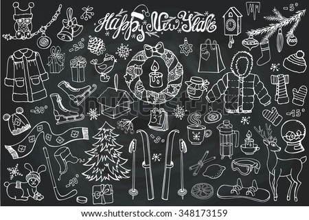 New year season doodle set.Winter wear, sport,gifts,snowflakes,food,animals with other holiday symbols,Christmas elements.Vintage Hand drawn vector,linear decoration,Chalkboard background. - stock vector