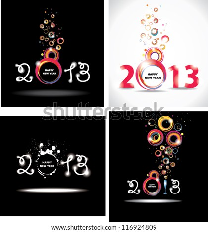 New year 2013. Set abstract posters. - stock vector