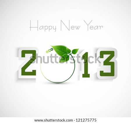 New year shiny 2013 green colorful whit background vector - stock vector