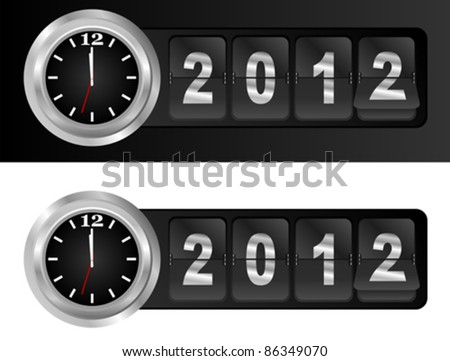 New Year 2012 Sign and Silver Cock in Airport Time Style - stock vector