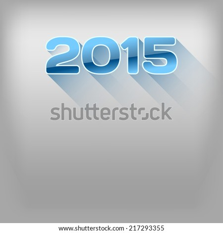 New year 2015. Simple blue numbers with long shadows. Vector design elements. - stock vector